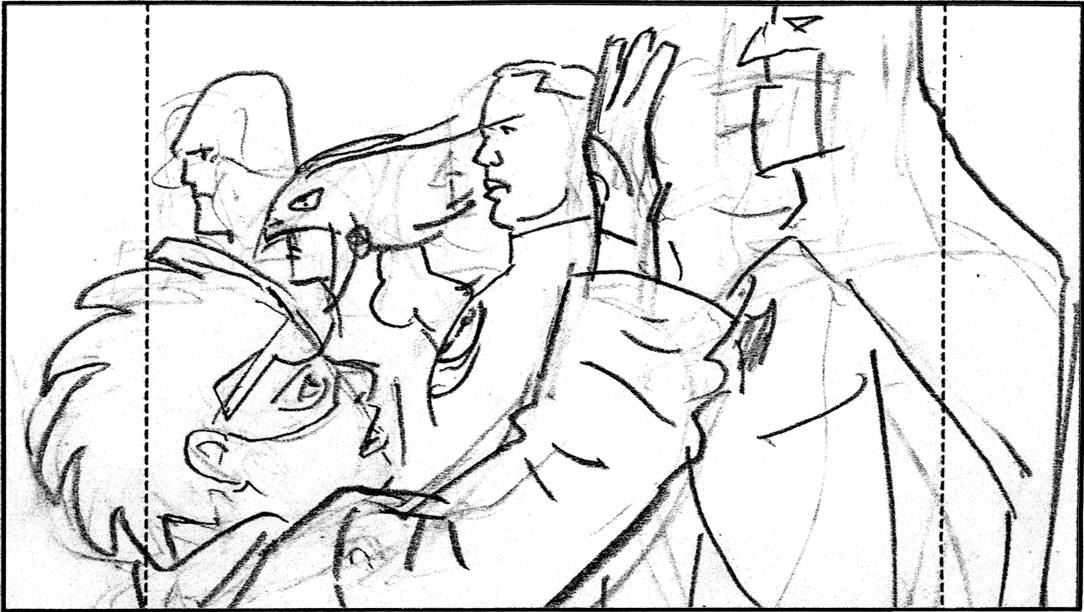 Storyboard by Brad Rader for animated television Static Shock, episode A League of Their Own