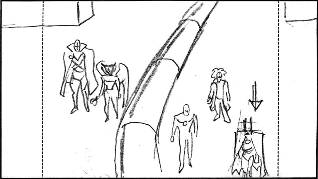 Storyboard by Brad Rader for television Static Shock, episode A League of Their Own