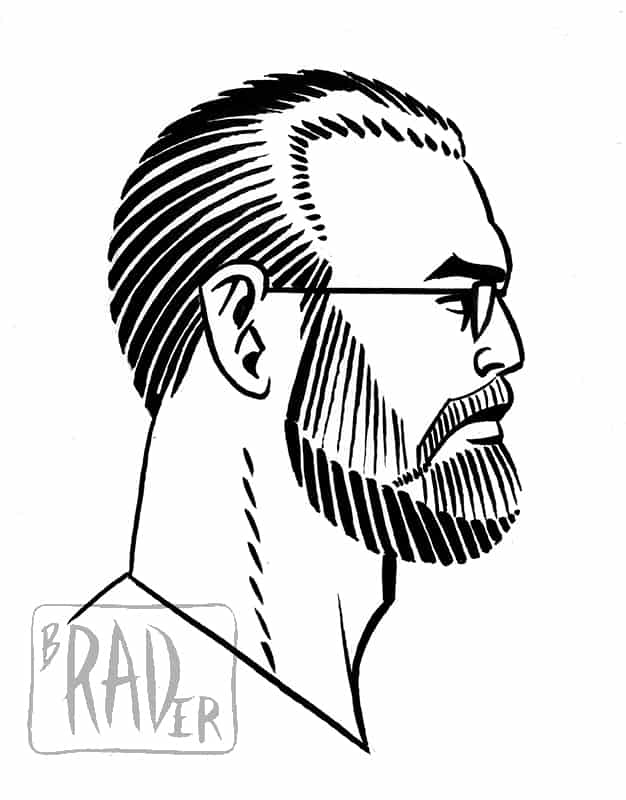 Pen and ink self-portrait by Brad Rader