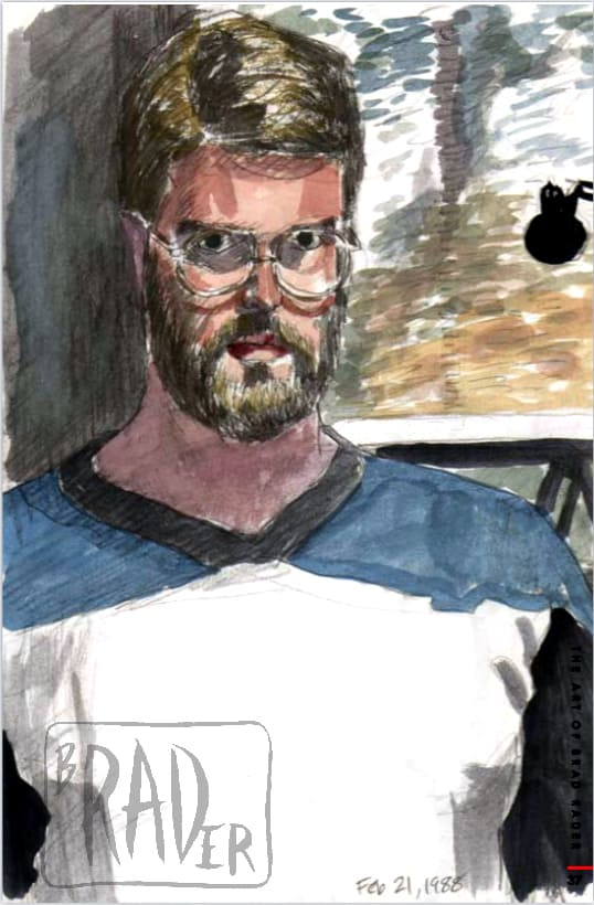 Water color self-portrait by Brad Rader