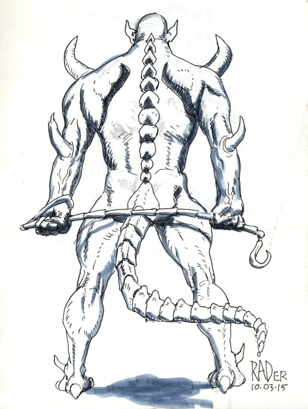 Sergeant Demon, ink and wash drawing by Brad Rader of fantasy science-fiction demon with riding crop whip, SM erotica