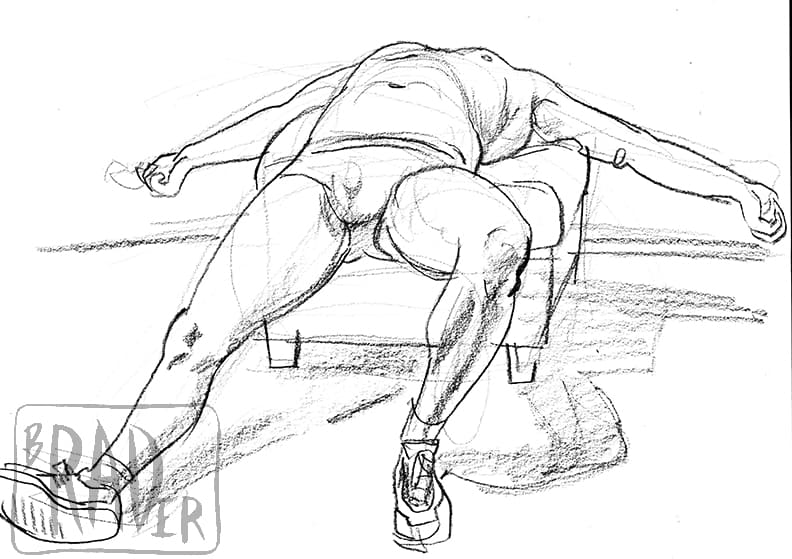 Spread Eagle, crayon drawing by Brad Rader of man in weightlifting posture, gay erotica, bears