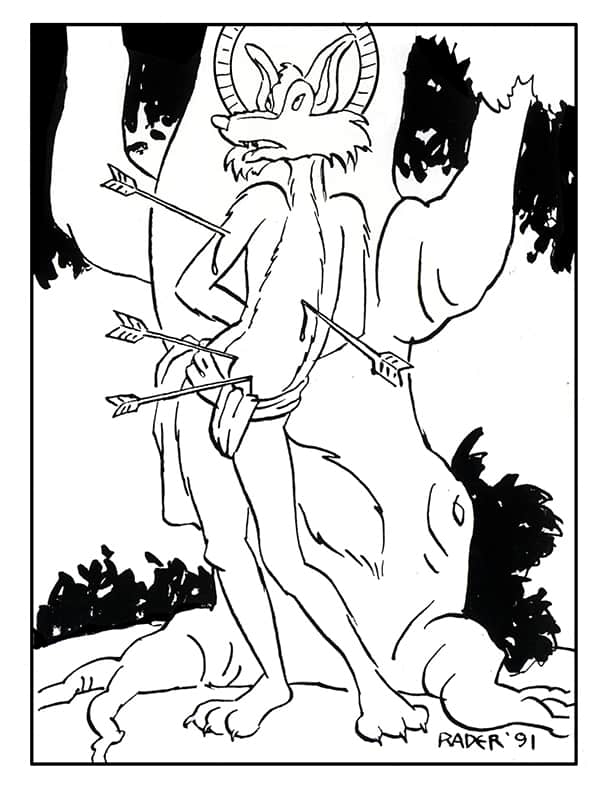 St. Sebastian, ink illustration by Brad Rader, gay icon St. Sebastian pierced by arrows as anthropomorphic comic book funny animal character