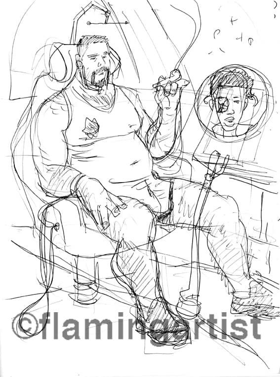 Stoned in Space pen and ink illustration  by Brad Rader of man in Star Trek-vintage spaceship moking marijuana