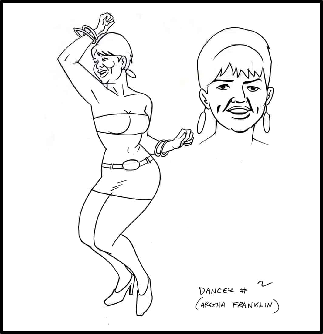Brad Rader character design for Stan Lee's Stripperella - Aretha Franklin look-alike