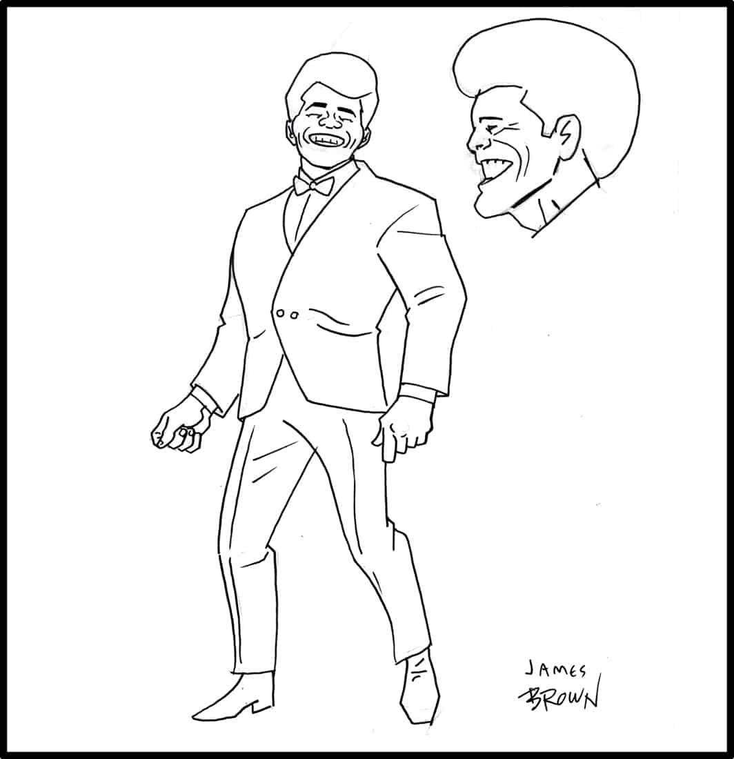 Brad Rader character design for Stan Lee's Stripperella - James Brown look-alike