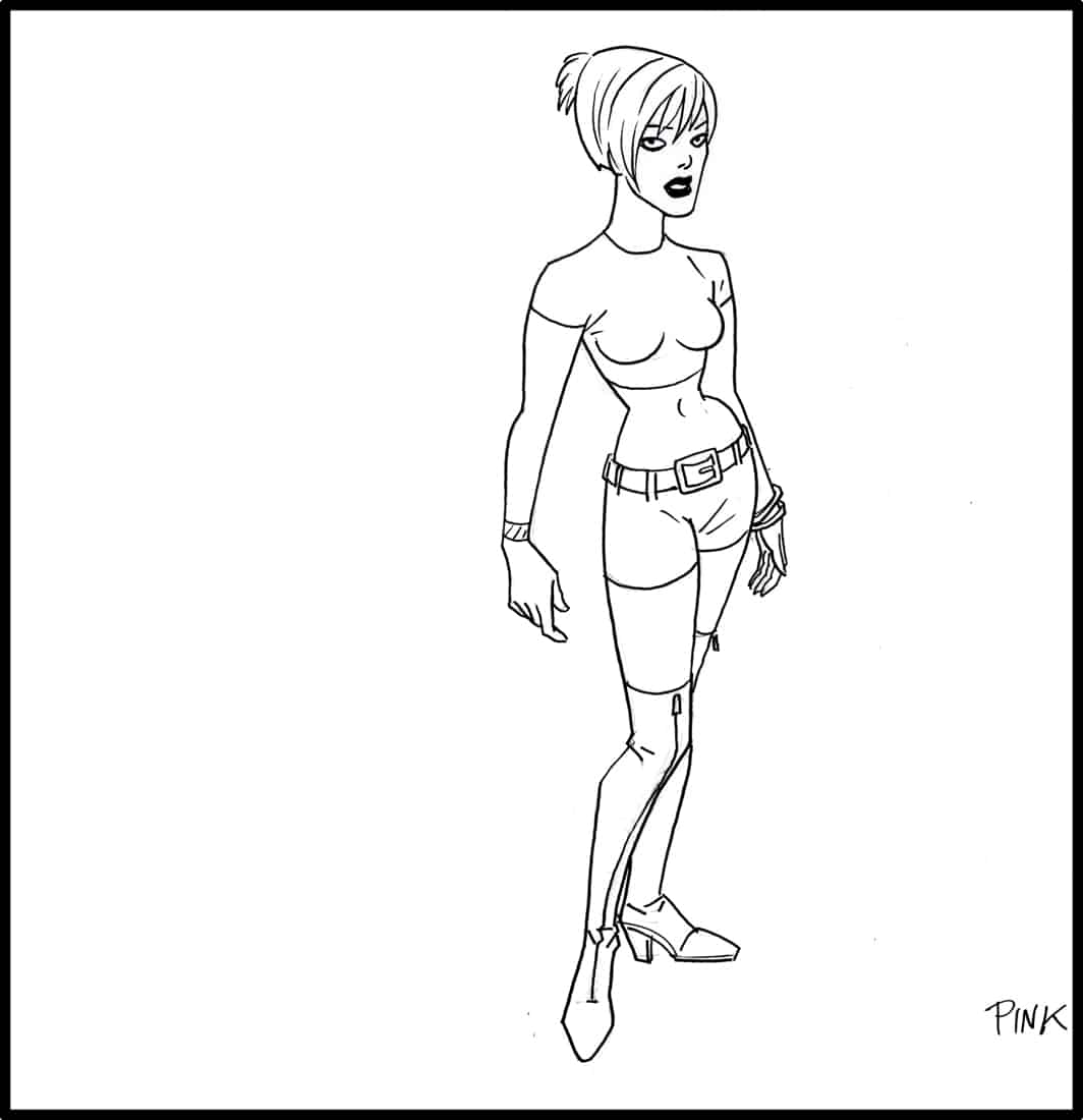 Brad Rader character design for Stan Lee's Stripperella - Pink look-alike