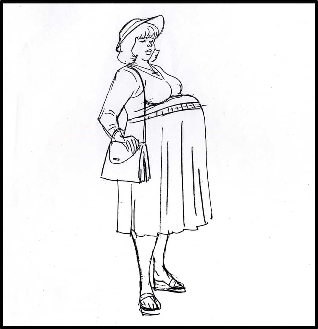 Brad Rader character design for Stan Lee's Stripperella - pregnant lady