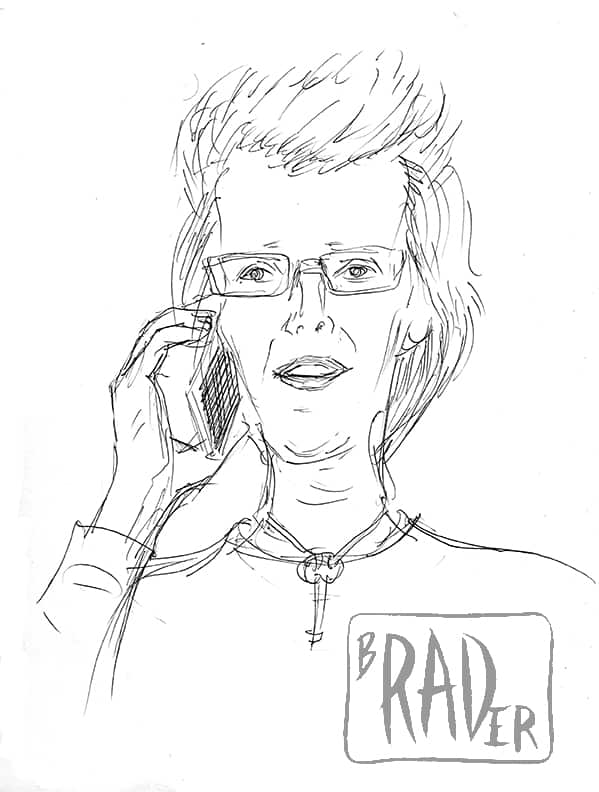 Pen and ink portrait of Tess Bodley by Brad Rader