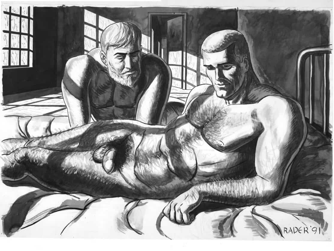 The Doctor Studies, ink and wash illustration by Brad Rader, gay erotica, bears