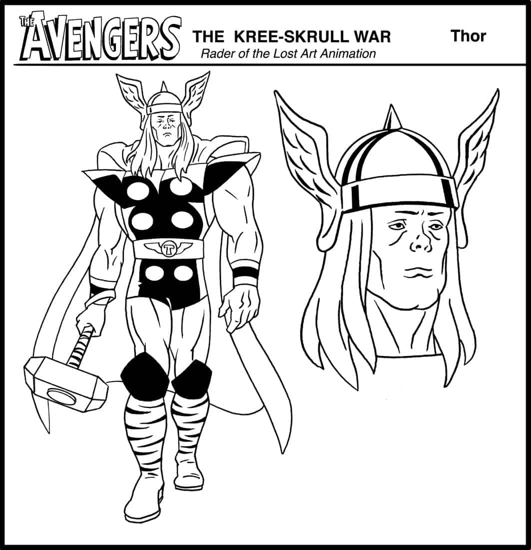 Thor model sheet from The Avengers: The Kree-Skrull War