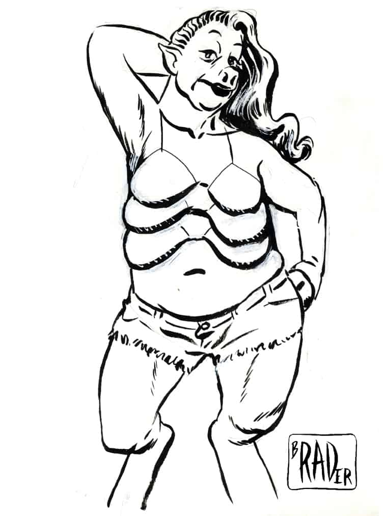 Top Sow, brush and ink illustration by Brad Rader, science fiction erotica