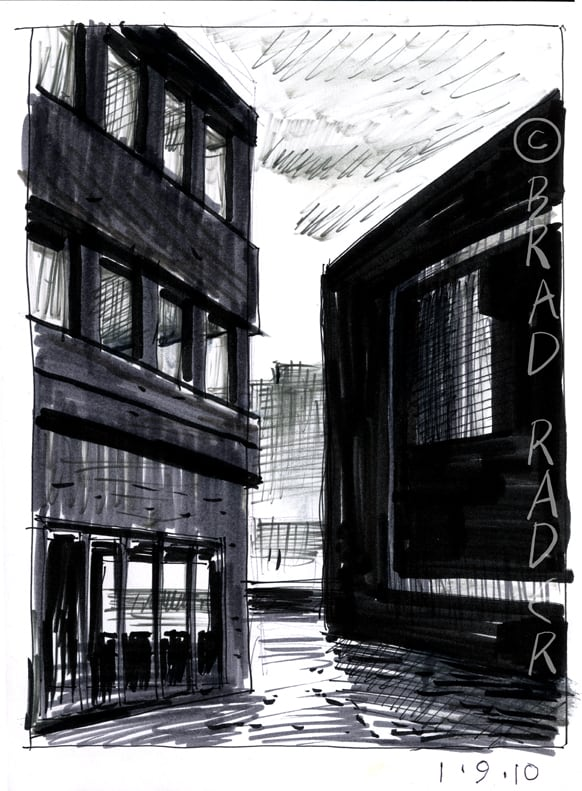 Under Water ink and wash illustration by Brad Rader of deserted streetscape