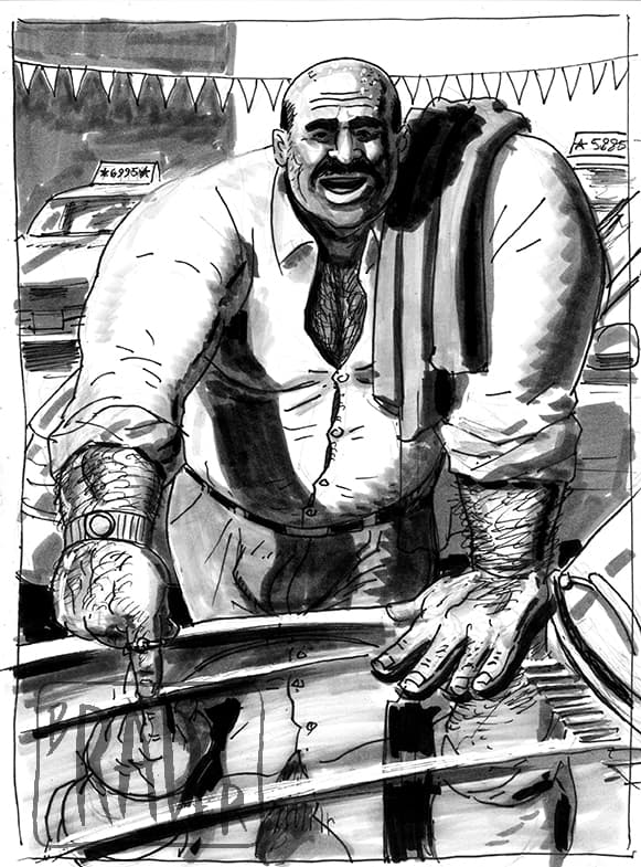 Used Cars, ink and wash illustration by Brad Rader, gay erotica, bears