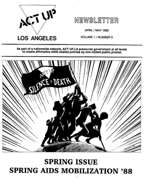 ACT UP Los Angeles Newsletter cover by Brad Rader