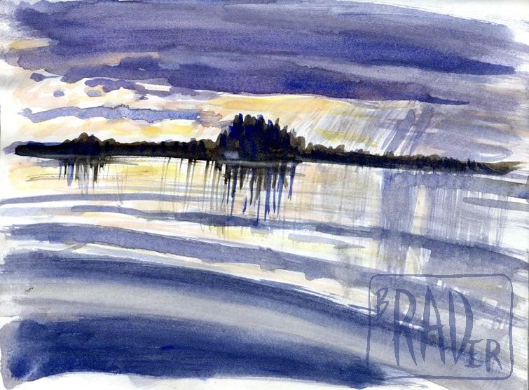 Big lake, rainy day, drawn from life by Brad Rader