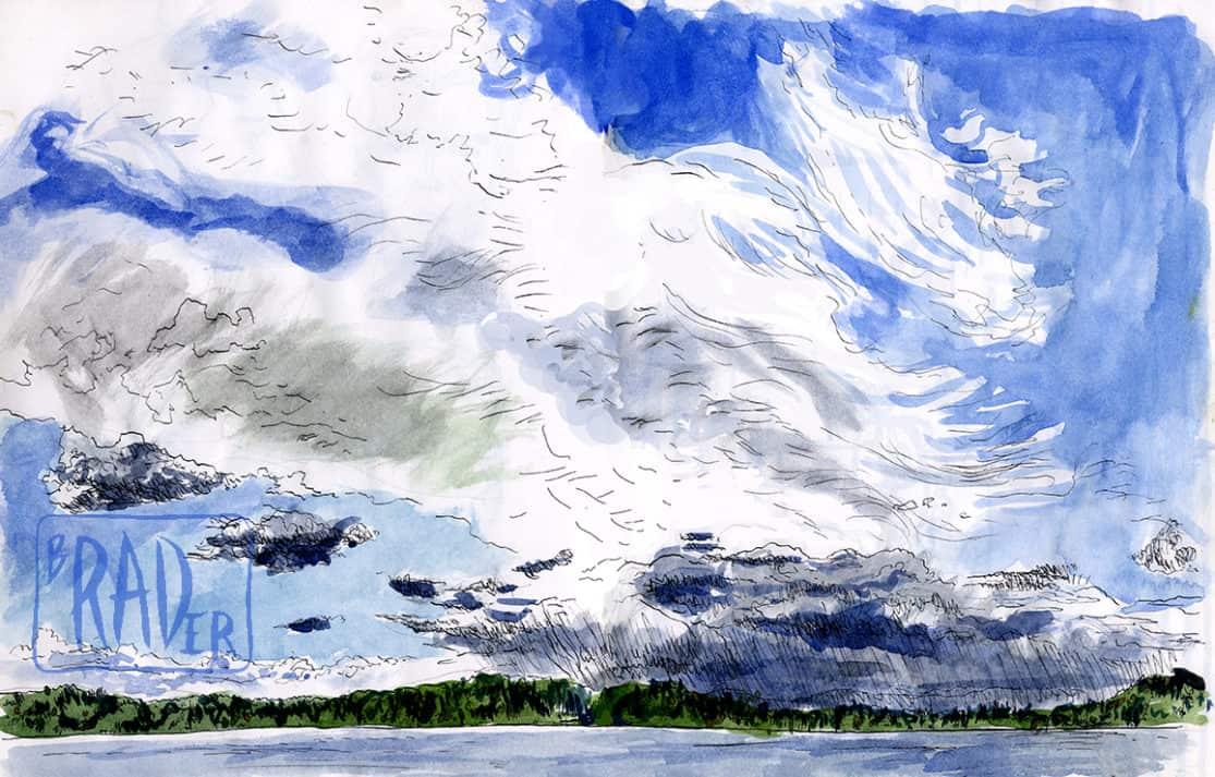 Big lake, sunny day, drawn from life by Brad Rader