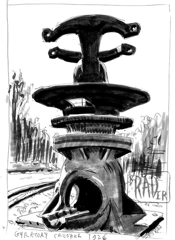 Gyratory Crusher drawn from life by Brad Rader
