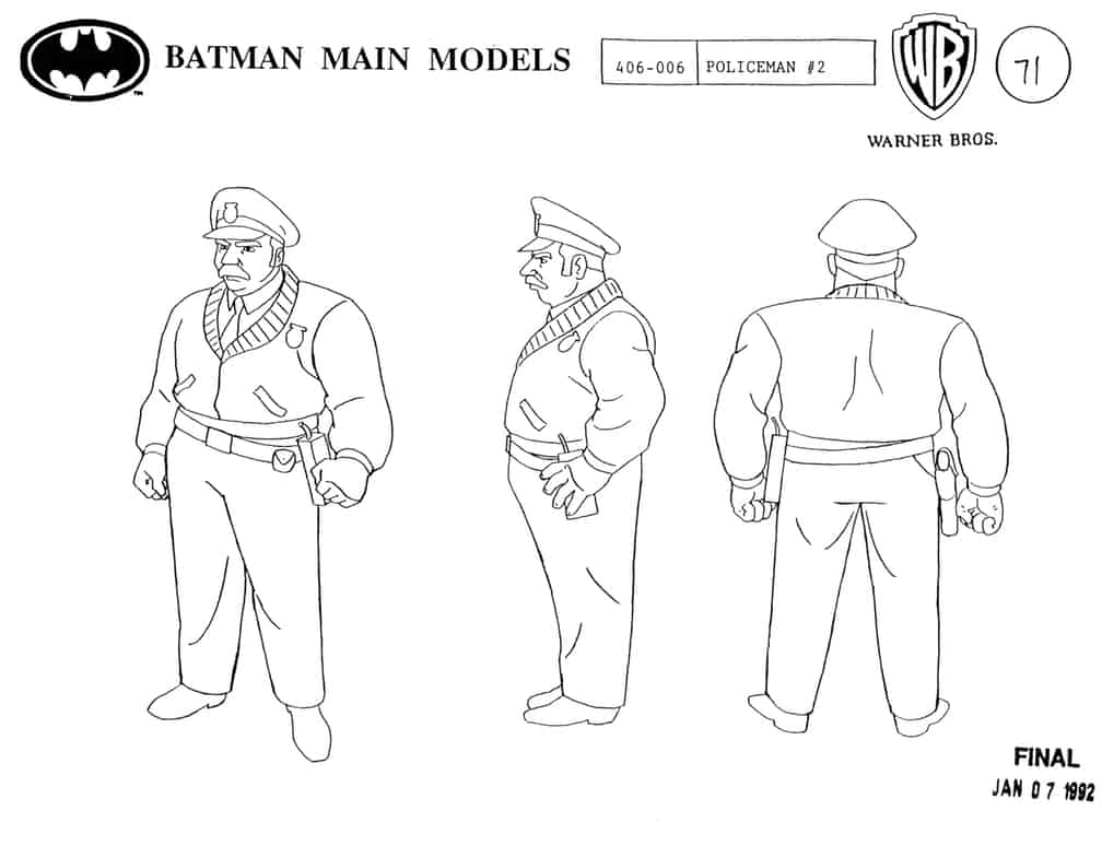 Character design by Brad Rader for Batman: The Animated Series