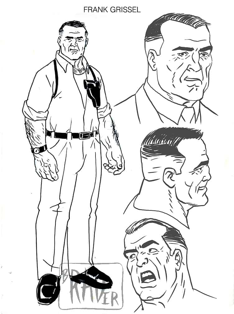 Frank Grissel model sheet, from Fogtown by Brad Rader
