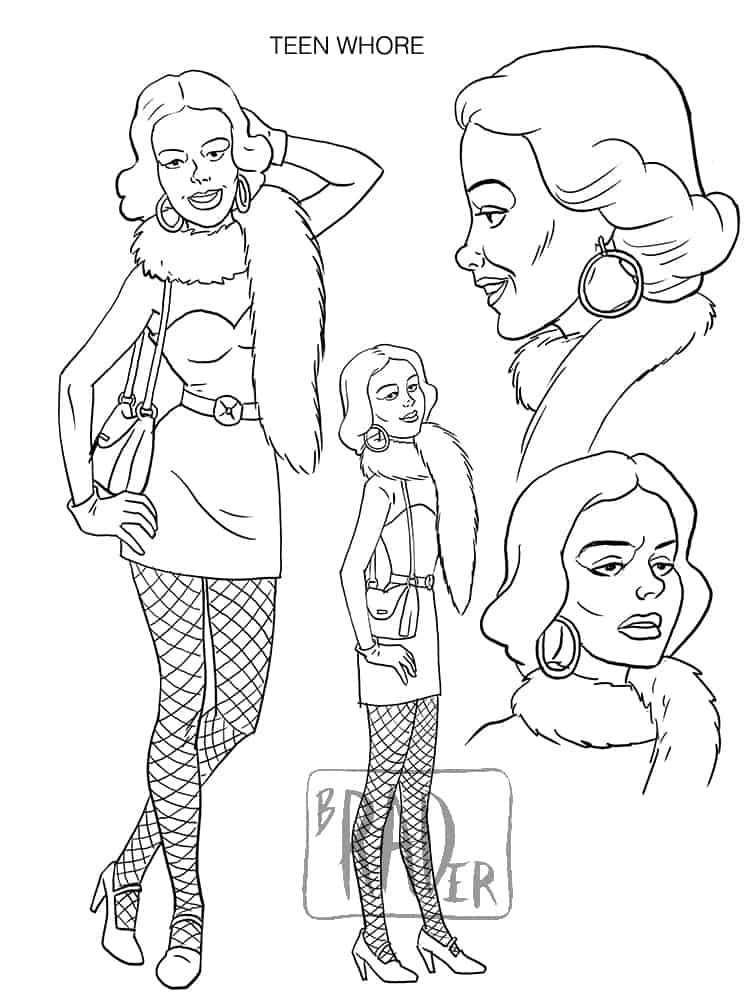 Teenage Prostitute model sheet, from Fogtown by Brad Rader