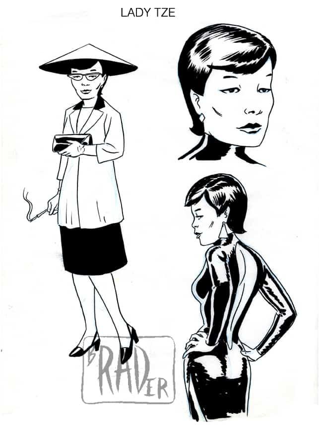 Lady Tze model sheet, Fogtown by Brad Rader