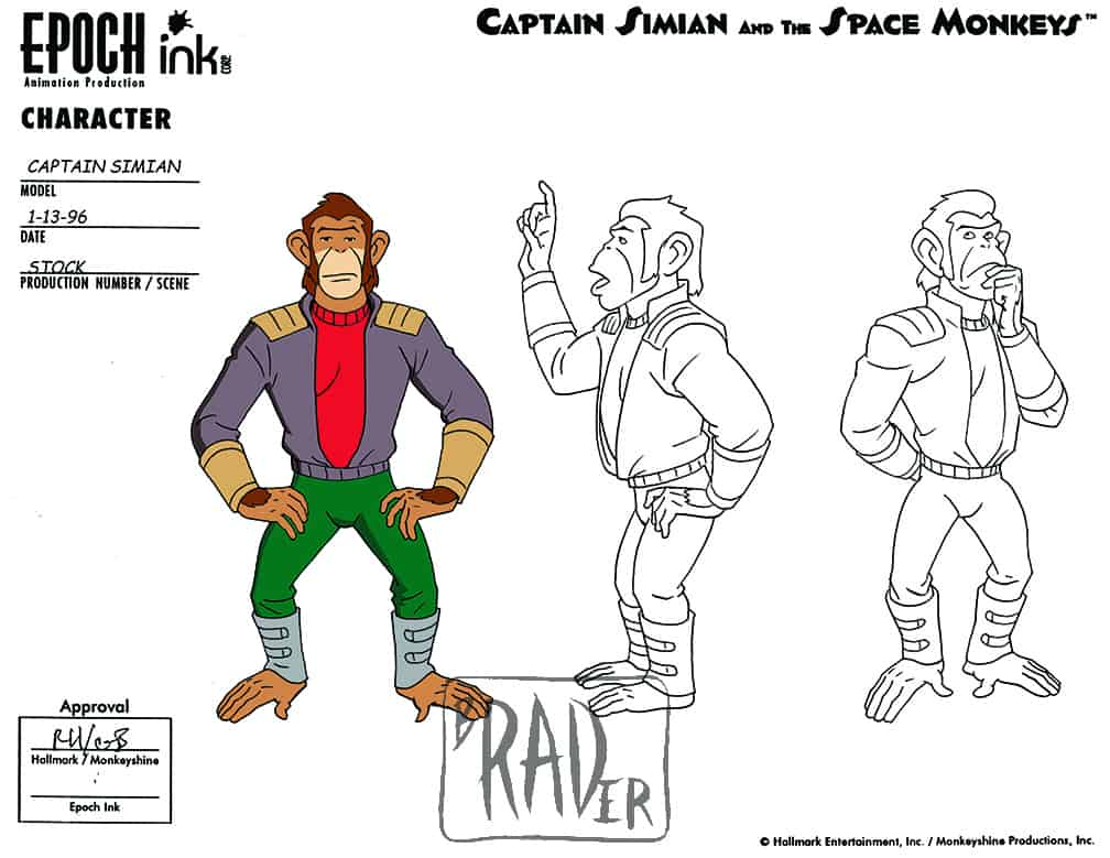 Model sheet for Captain Simian, Captain Simian and the Space Monkeys