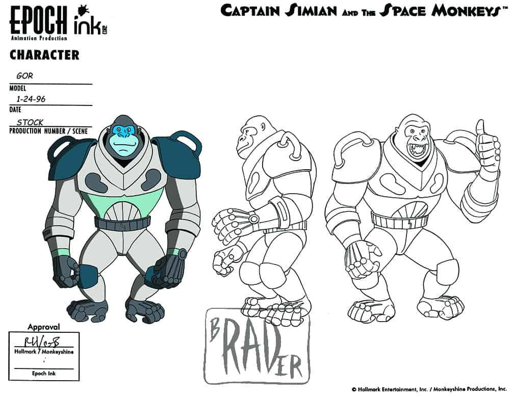 Model sheet for Gor, Captain Simian and the Space Monkeys