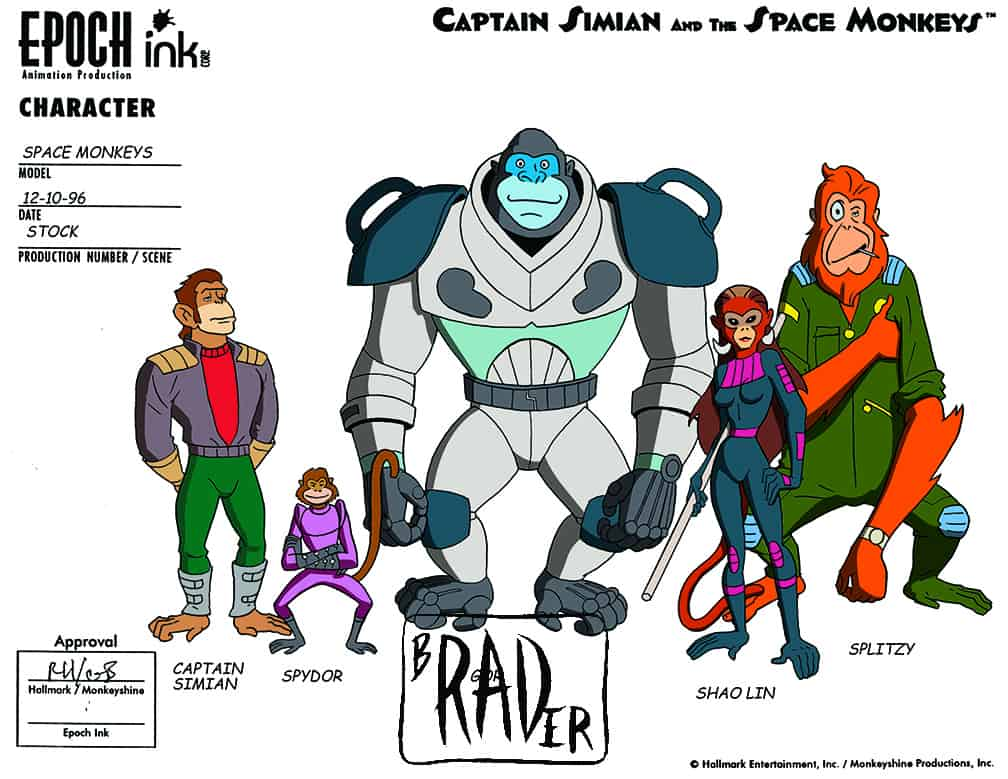 Model sheet for Captain Simian and the Space Monkeys