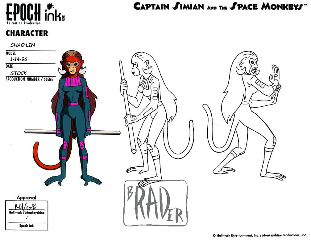 Model sheet for Shao Lin, Captain Simian and the Space Monkeys