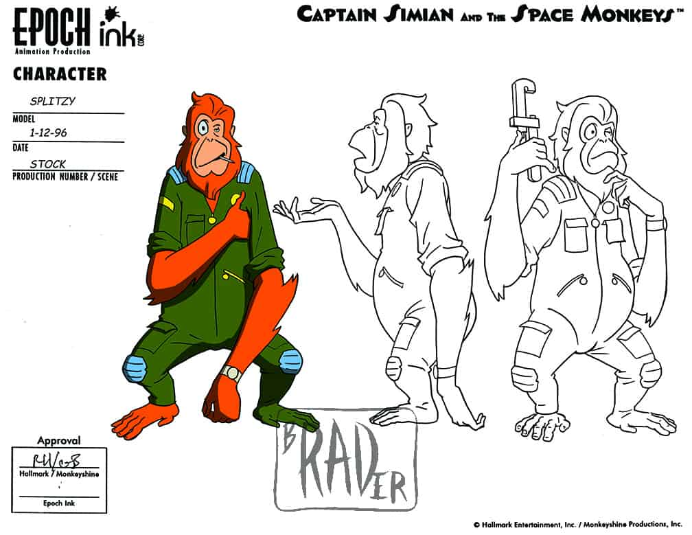 Model sheet for Splitzy, Captain Simian and the Space Monkeys