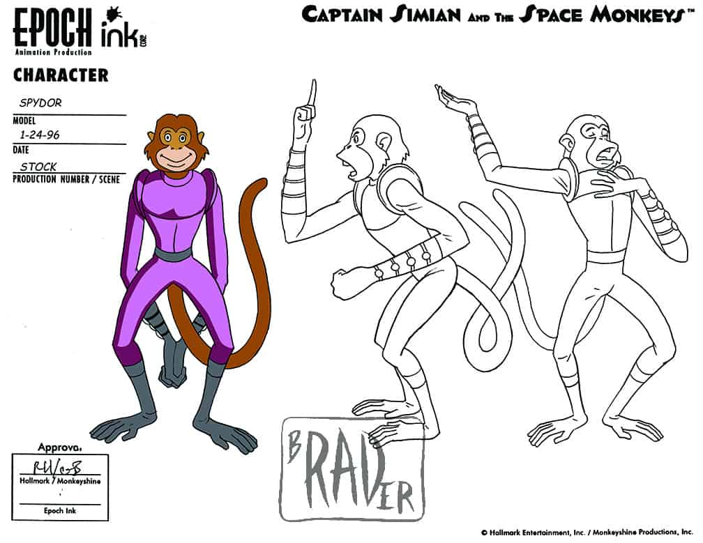 Model sheet for Spydor, Captain Simian and the Space Monkeys