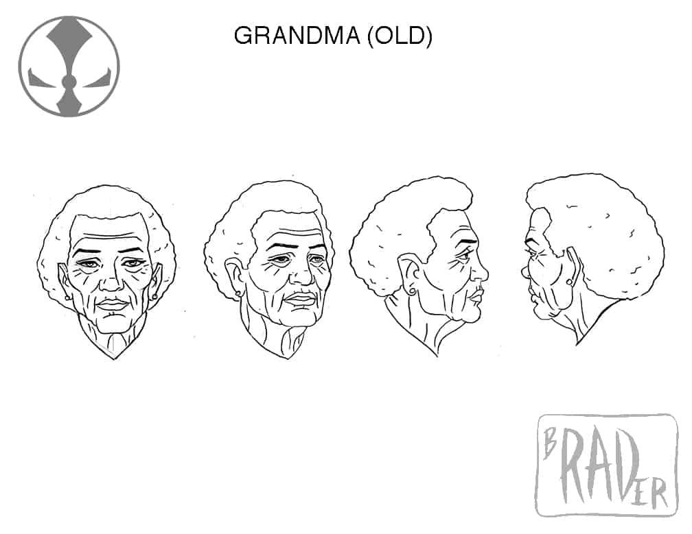 Grandma (old) model sheet, from Todd McFarlane's Spawn
