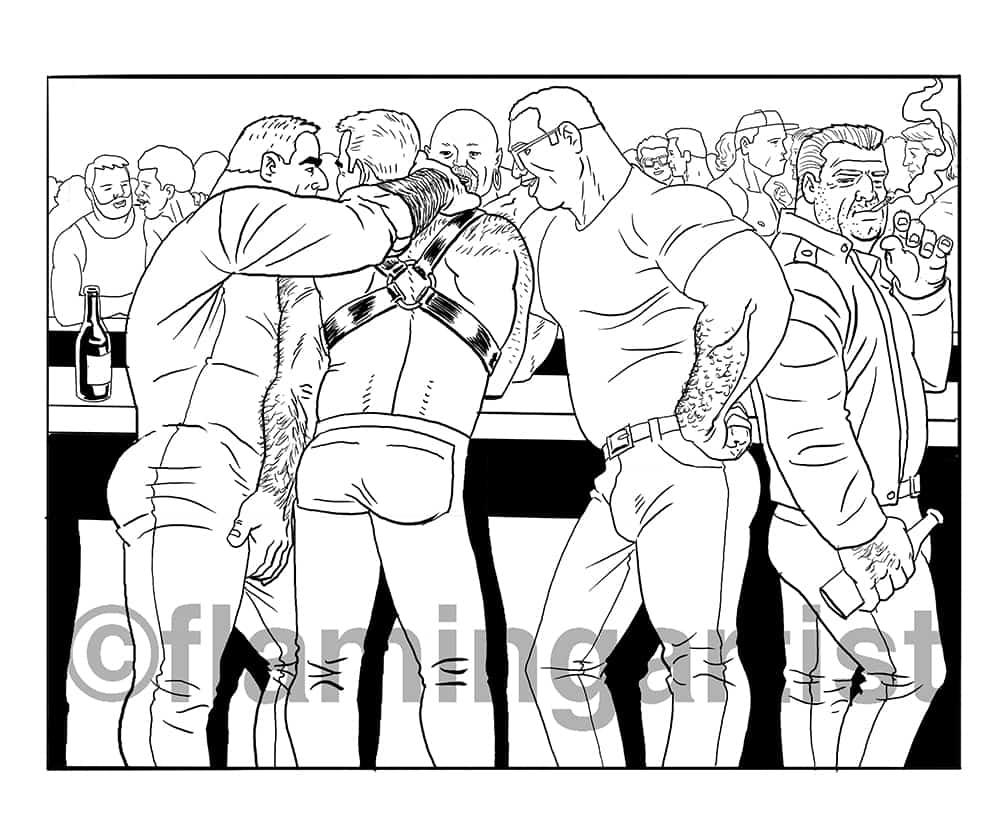 Cruising, illustration by Brad Rader of men in a gay bar, gay erotica, bears