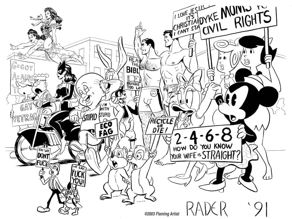 Comic characters in gay pride poster by Brad Rader