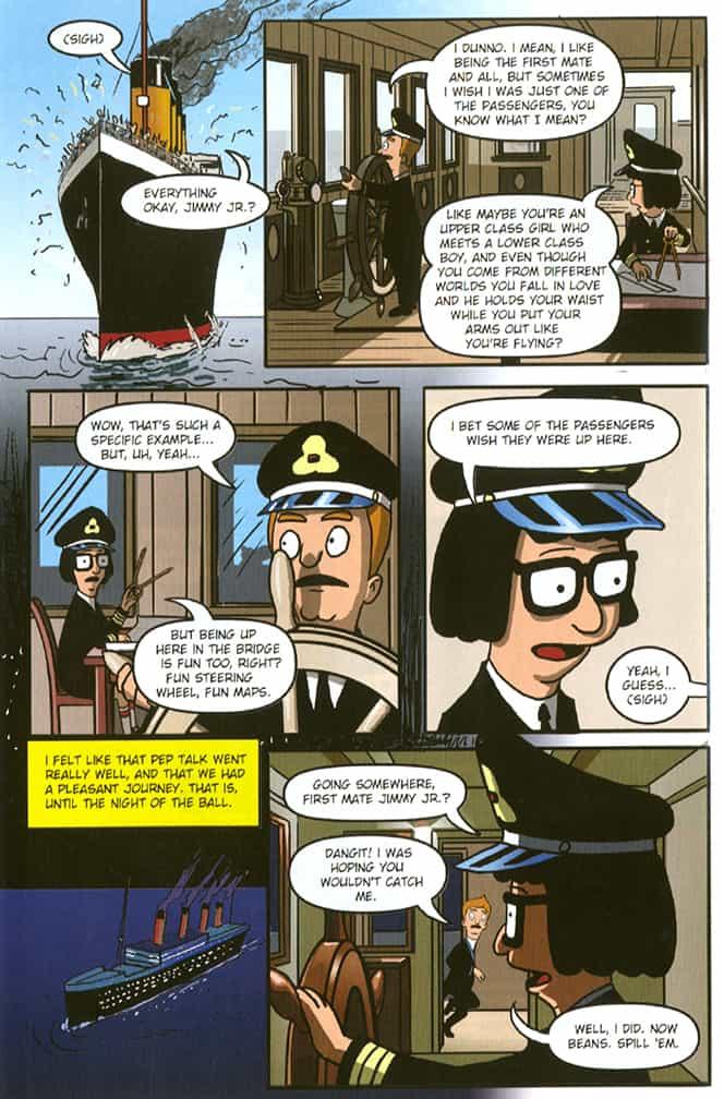 Bob's Burgers comics, Tinatanic, page 2, pencilled by Brad Rader