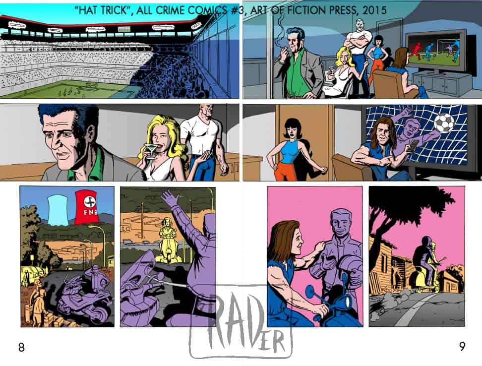 All Crime Comics number 3, Hat Trick pencilled by Brad Rader, page 8 and 9