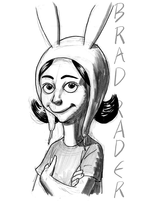 Louise Belcher from Bob's Burgers, drawn by Brad Rader
