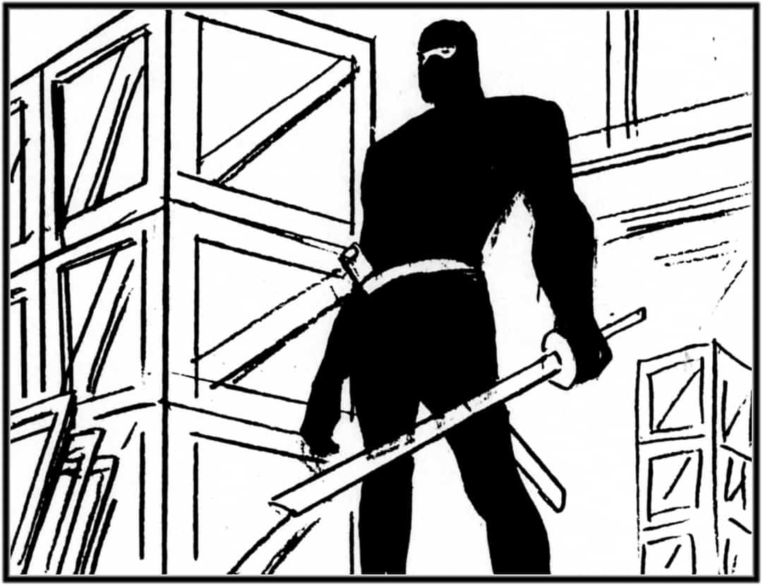 Storyboard by Brad Rader for Batman: The Animated Series episode Night of the Ninja