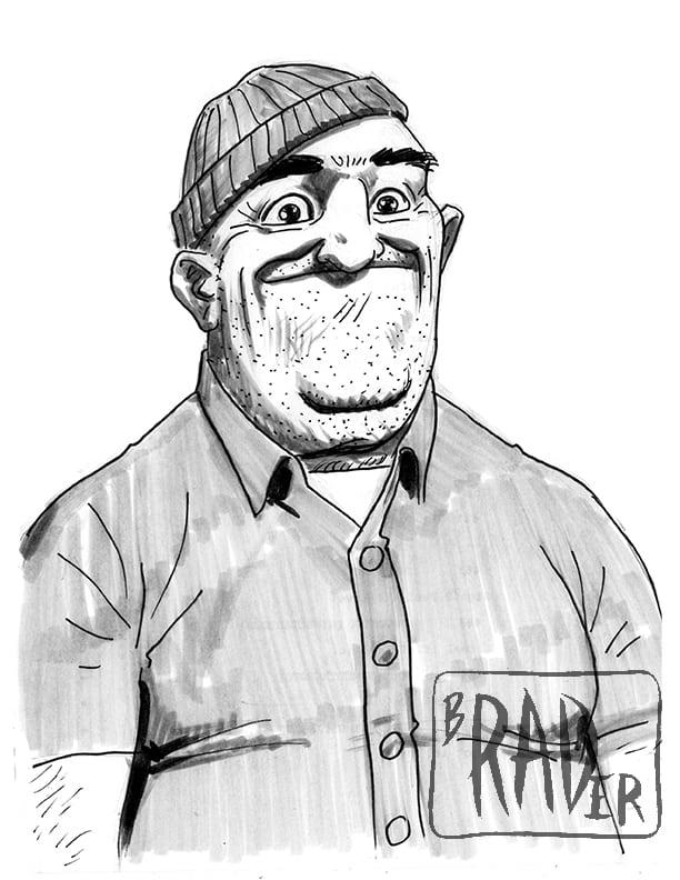Teddy from Bob's Burgers, drawn by Brad Rader